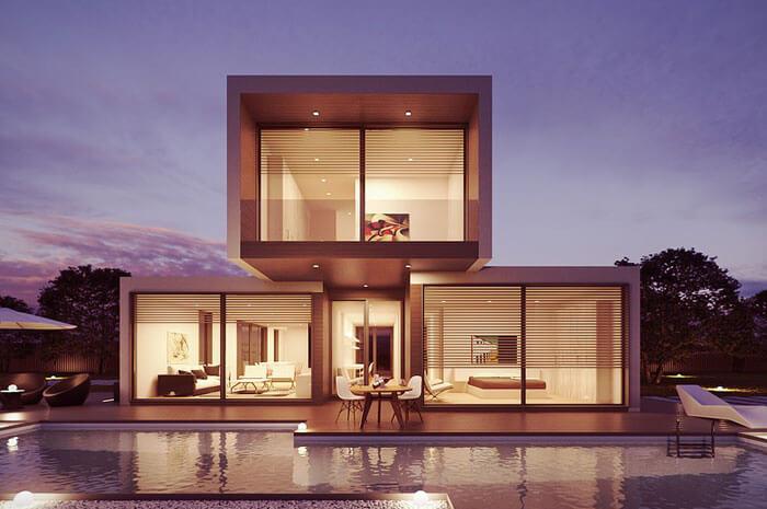 minimál stílusú ház lapostetővel